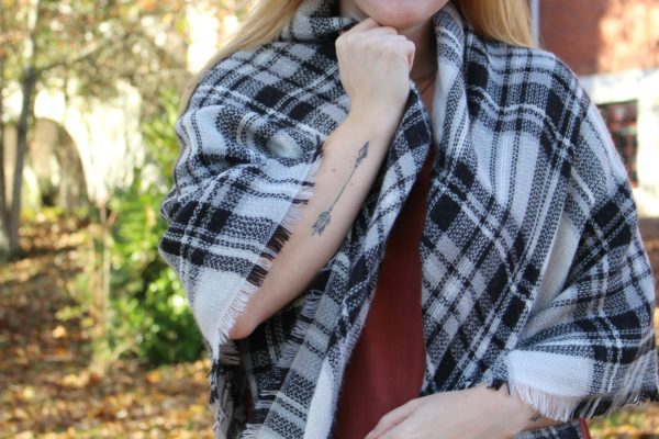 How to style a blanket scarf for fall with tips for time management and productivity. - Happy Stylish Fit