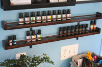 A DIY to make shelves to store your essential oils. #DIY #EssentialOils #HomeDecor
