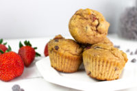 Strawberry chocolate chip muffins. This healthy muffin recipe is so tasty and great for the whole family.