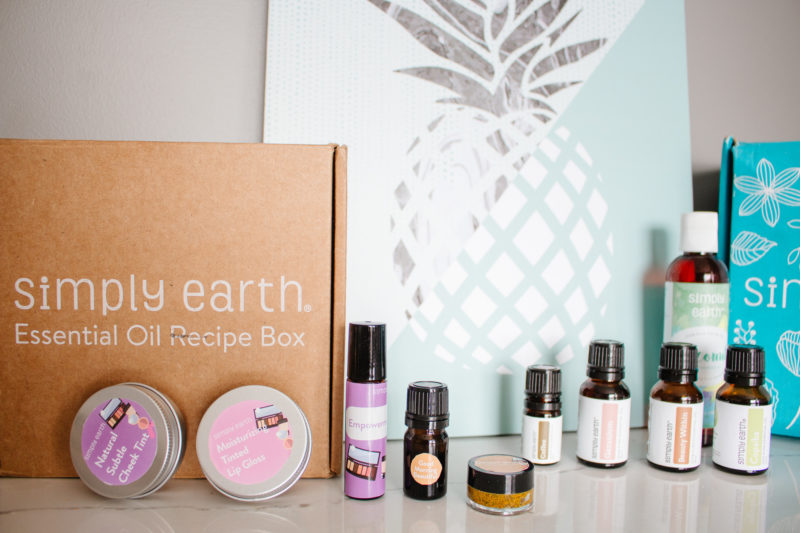 All of the oils and items featured in the February Simply Earth Essential Oil DIY Recipe Box.